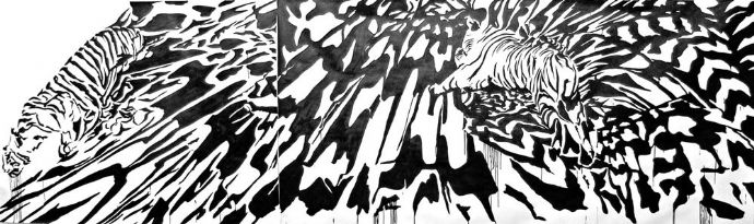 'Untitled', 2008, ink on paper, 150x500 cm