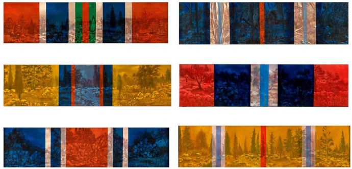 'War Medals', 2002, oil on canvas, 30x120 cm, 6 units