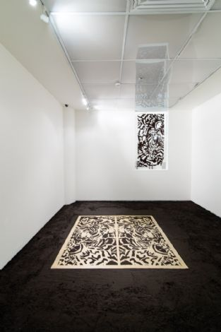 'Untitled', 2014, metalcut 180X90 cm, burnt hamra soil, site specific installation, Ashdod Art Museum