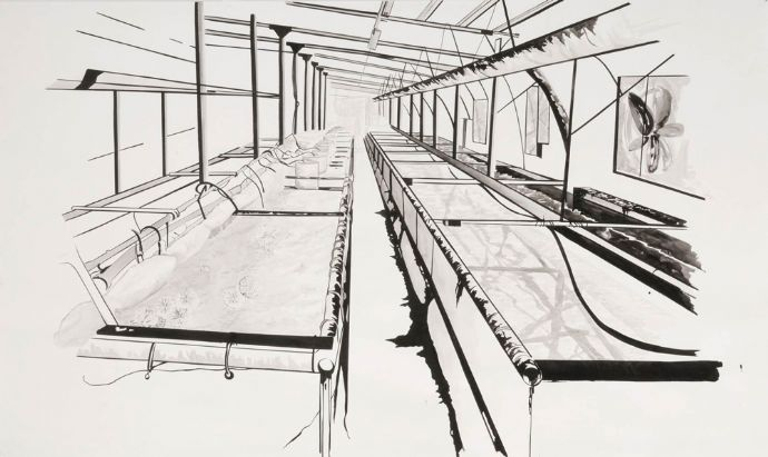Keren Anavy, Untitled, 2012, ink on paper, 250x150 cm