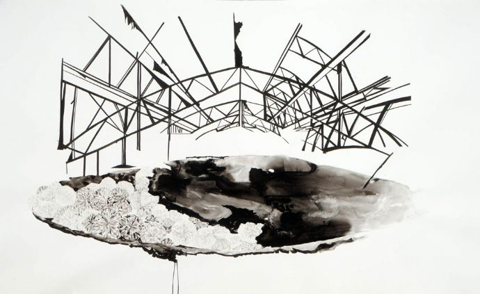 Keren Anavy, Hothouse, 2012, ink on paper, part from  450x150 cm