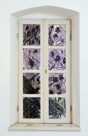 'Untitled', 2013, ink and mixed media on transparencies, 160x84 cm